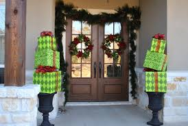 decorations stacked gifts like columns christmas entrance door