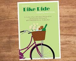 bike ride party invitation basket wine