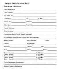 Vendor Information Sheet Template Client Information Form Template Thebridgesummit Co