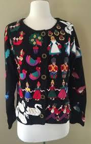 michael simon sweater beaded floral sleeve black m nwt