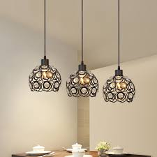 Iron Pendant Light Modern Crystal Pendant Lamp 3 Hanging Lamps Luxury Home Light