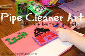 pipe cleaner art toddler activities for winter sanity as jules