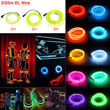 tsleen 2 3 5m bendable el wire led lights neon battery power