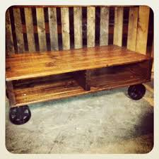 Industrial Cart Coffee Table Hand Crafted Industrial Cart Coffee Table With Cast Iron Casters