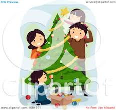 royalty free rf decorating the christmas tree clipart