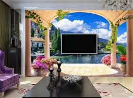 3d custom photo mural 3d wallpaper pillar arches european town