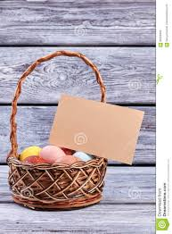 blank easter baskets easter basket with blank card stock photo image 90209464