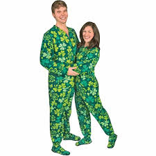 shamrocks clovers drop seat footed pajamas pajama city
