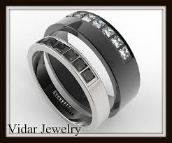 his and black and white gold wedding band set unique matching