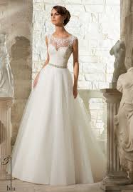 mori bridal wedding gowns by featuring venice lace appliques on soft