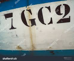 closeup numbers letters on side fishing stock photo 420845545