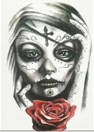 temporary tattoo sugar skull rose tattoo calavera tattoo for