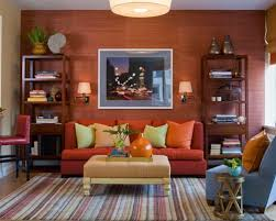 Living Room With Orange Sofa Burnt Orange Sofa Houzz