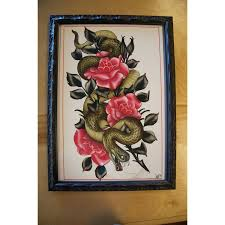 snake with roses woodwork