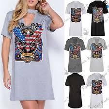 womens ladies american rock vintage choker neck longline oversized