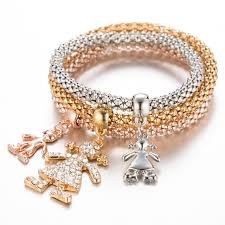 bracelet pendant images 3pcs girls charm bracelets bangles gold silver plated friendship jpg