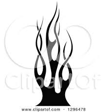 clipart of a black and white tibal fire tattoo design element 8