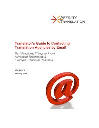 Resume Translator How Translators Should Email Translation Agencies