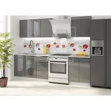 meuble cuisine et gris vancouver cuisine complète l 1m80 gris brillant achat vente