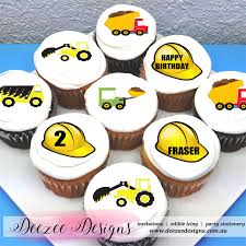 construction cake toppers construction themed edible cupcake toppers 2 pre cut deezee