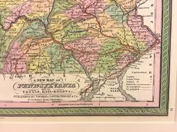 Map Of Pennsylvania Towns by Antique