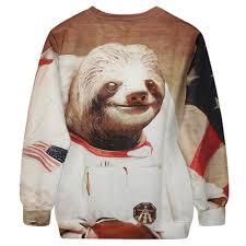Sloth Meme Shirt - astronaut space sloth animal meme graphic print sweater dotoly