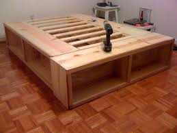 Bed Frame Plans With Drawers Storage Build Platform Bed Frame As Well As Build Bed