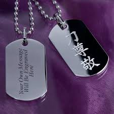 Personalized Dog Tag Necklace Mens Personalised Dog Tags Necklace Engraved With Kanji Symbol