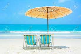 Beach Umbrella And Chair Umbrella And Beach Chair On The