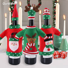 online shop ourwarm 3pcs red wine bottle cover new year u0027s products