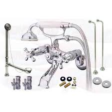 Clawfoot Tub Faucet With Shower Chrome Tub Mount Clawfoot Bathtub Filler Faucet Kit W Hand Shower