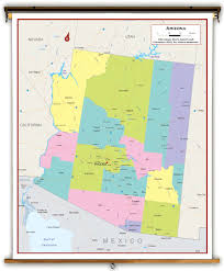 Map Of Arizona by Arizona State Political Classroom Map From Academia Maps