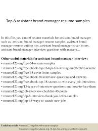 Assistant Manager Resume Sample by Top8assistantbrandmanagerresumesamples 150331210027 Conversion Gate01 Thumbnail 4 Jpg Cb U003d1427853676