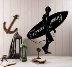 wall vinyl decal surf surfing ocean marine quote forever young