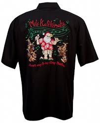 christmas shirts go barefoot santa sing along hawaiian christmas shirt in black