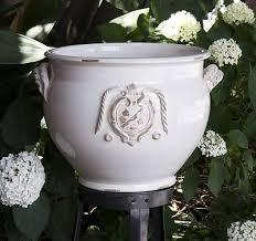 italian ceramics antique white square planter gardening at hill