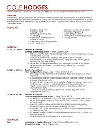 teacher assistant resume job description resume cover letter example