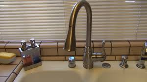 pewter moen anabelle kitchen faucet single hole two handle pull