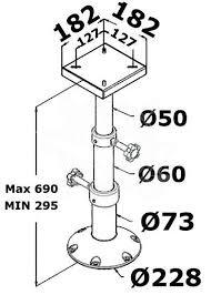 Aluminum Pedestal Telescopic Boat Table Pedestal Aluminum 48 719 01 Osculati