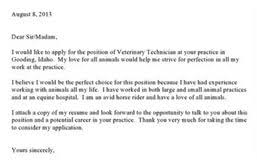 cover letter for veterinary technician vet tech resume job resume