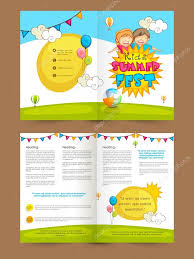 kids summer fest two page brochure template or flyer u2014 stock