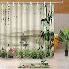 popular shower curtain bath buy cheap shower curtain bath lots ink painting bed bath shower curtain sets waterproof fabric with 12 hooks wts034 china