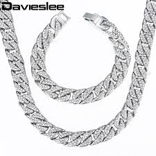 white gold men necklace images Davieslee jewelry set womens mens white gold filled curb link jpg