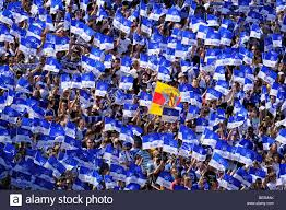 Karlsruhe Baden Baden Karlsruher Sc Fan Block With Baden Flag Wildpark Stadium