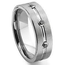 mens black diamond wedding bands tungsten carbide black diamond ribbed wedding band ring