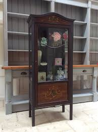 vintage glazed display cabinet bookcase black painted glass marquetry