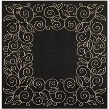 Safavieh Indoor Outdoor Rugs Safavieh Courtyard Scroll Border Black Beige Indoor Outdoor Rug