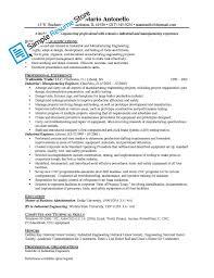 Manufacturing Experience Resume Industrial Engineer Resume Berathen Com