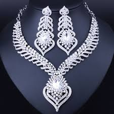 crystal bridal necklace sets images Hot sale silver plated white crystal rhinestones feather shaped jpg