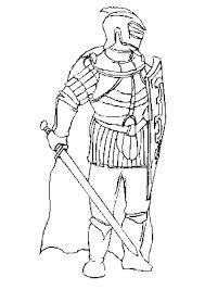 coloriage chevalier avec armure epée et bouclier
